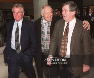 Boston Bruins president and general manager Harry Sinden (right) walks away from a new conference with friends, Edmonton Oilers' general manager Glen Sather ...  </div> <a href=