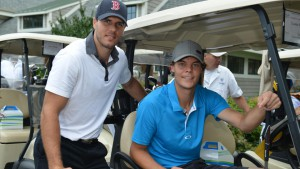 Photo ID (L-R):  Bruins David Krejci and Tuukka Rask on their way to the first hole at The Legends & Friends Pro-Am, at TPC Boston. Photo Credit: Brandon Barrett, Replay Sports