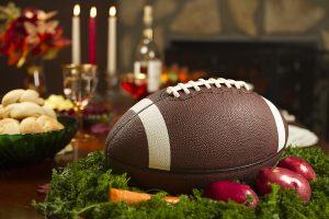Thanksgiving Football Pigskin Instead of Traditional Turkey Dinner
