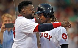 (Boston, MA, 07/20/16) Boston Red Sox first baseman Hanley Ramirez, right,  celebrates his second home run with designated hitter David Ortiz during the third inning of the MLB game against the San Fransisco Giants at Fenway Park on Wednesday,  July 20, 2016.  Staff photo by Matt Stone