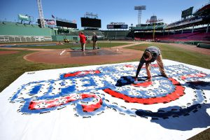 (033017 Boston, MA) Grounds crew prepare the paint for opening day at Fenway Park in Boston on Thursday, March 30, 2017. Staff Photo by Nancy Lane