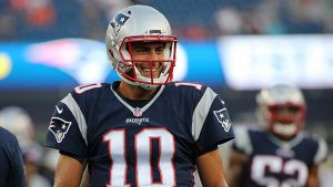 FOXBORO, MA - AUGUST 11: Jimmy Garoppolo #10 of the New England Patriots smiles during pre game drills before a preseason game against New Orleans Saints at Gillette Stadium on August 11, 2016 in Foxboro, Massachusetts. (Photo by Jim Rogash/Getty Images)