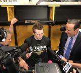 Jake DeBrusk recaps scoring his first NHL goal