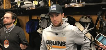 Matt Grzelcyk meets with the media following loss in Gm-5 to Leafs